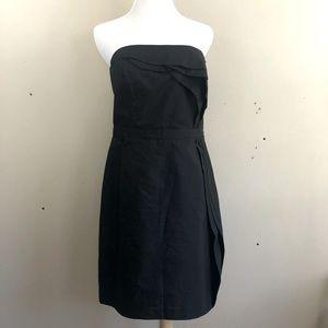 Loft Strapless Ruffled Black Dress